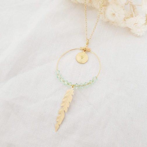 Sautoir plume vert pastel