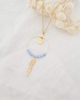 Sautoir plume bleu ciel
