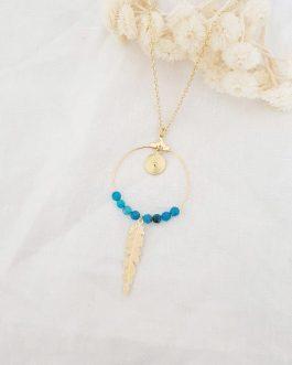 Sautoir plume bleu
