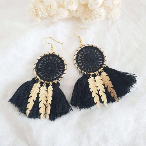 Boucles d'oreilles noires plumes
