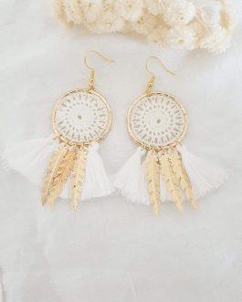 Boucles d'oreilles blanches plumes