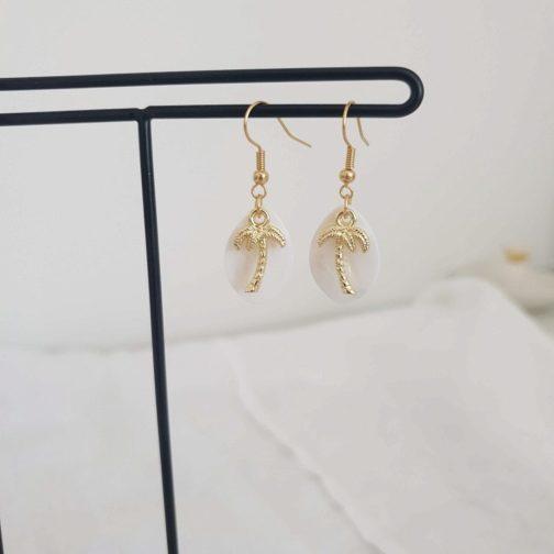 Boucles d'oreilles palmier nacre