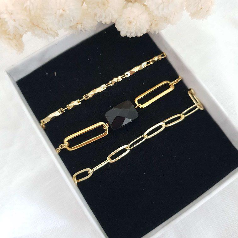 Composition bracelet onyx noir