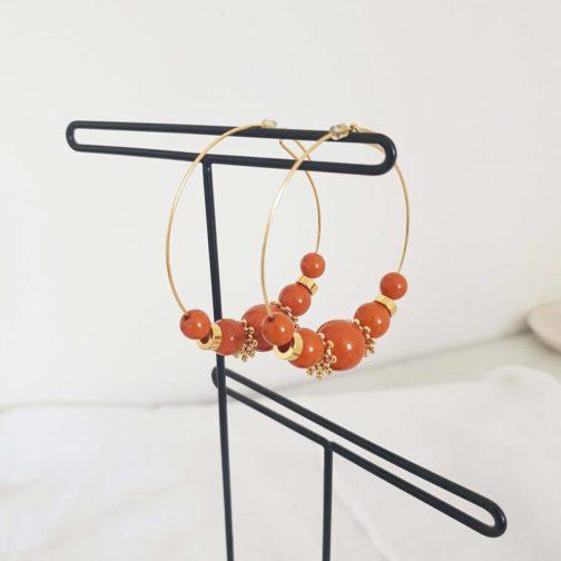 Créoles perles terracotta