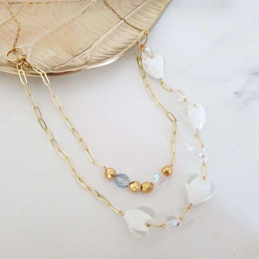 Collier double perle en verre