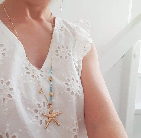 Collier étoile de mer bleu