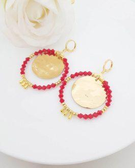 Boucles d'oreilles rouge et or