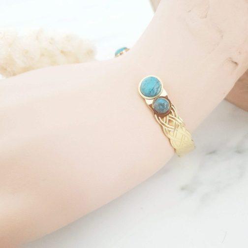 Bracelet tressé pierre turquoise