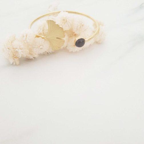 Bracelet jonc feuille ginkgo