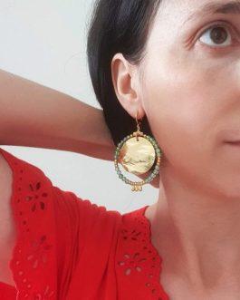 Boucles d'oreilles vert et or