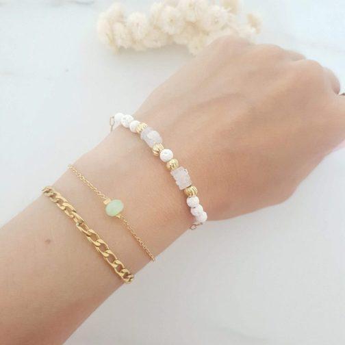 Bracelet pierre lune et lave