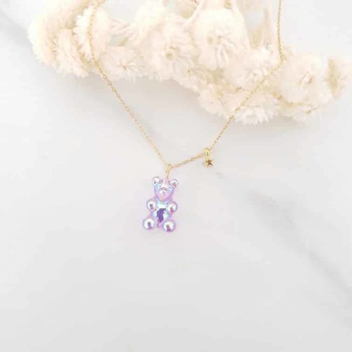 Collier ours lilas étoile