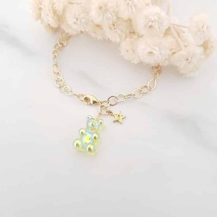 Bracelet ours vert étoile