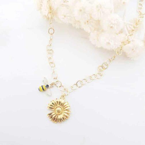 Collier abeille fleur