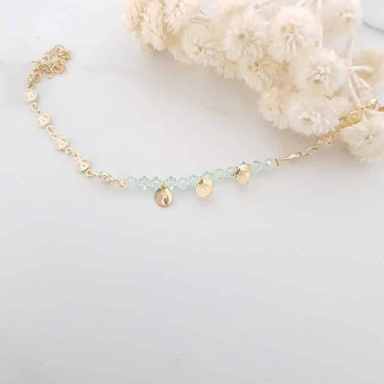 Bracelet cristal vert chaine fleurs