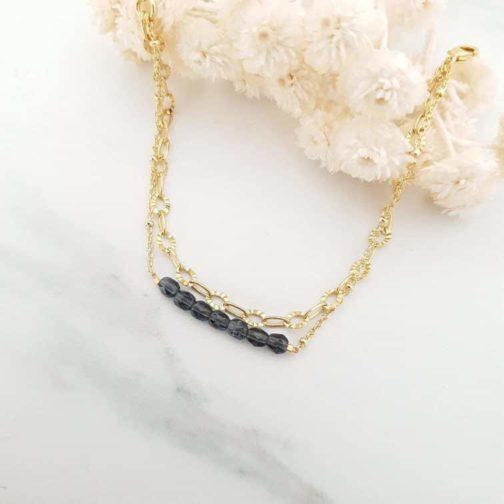 Bracelet perles gris bleu