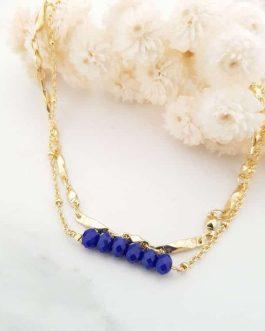 Bracelet perles bleues nuit
