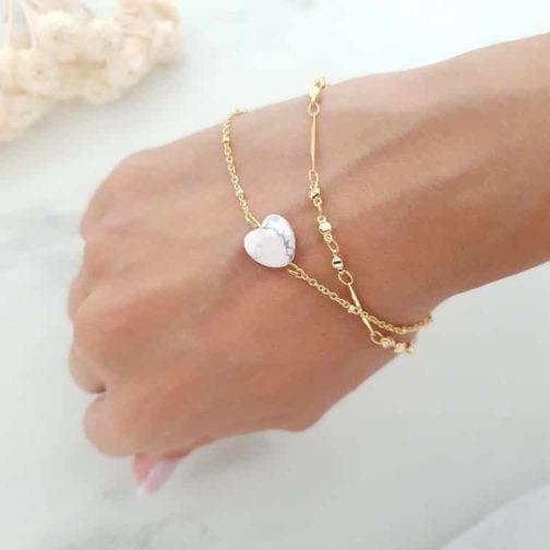 Bracelet cœur Howlite