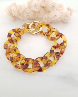 Bracelet mailles XXL marron