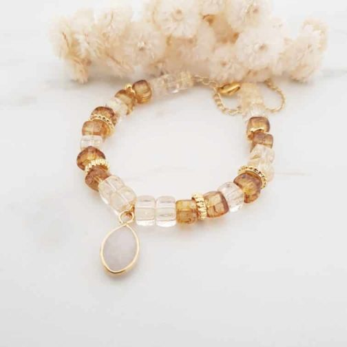 Bracelet perle de verre pierre