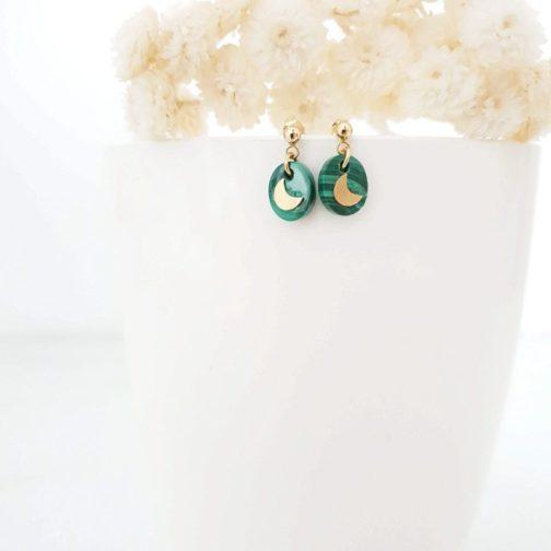 Boucles d'oreilles pierre malachite