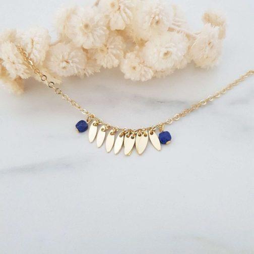 Bracelet pendentif navette Lapislazuli