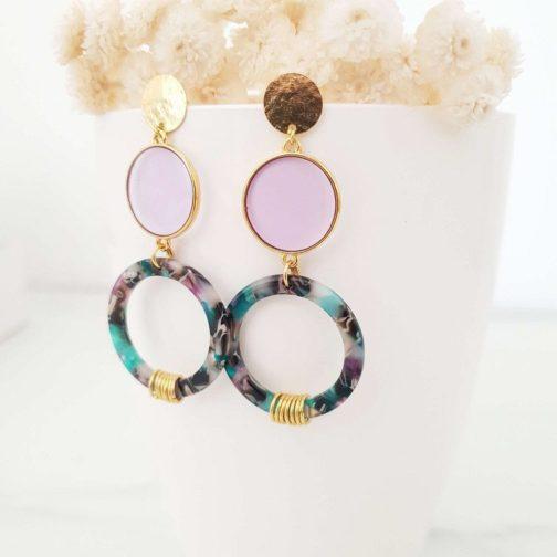 Boucles d'oreilles lilas noire turquoise