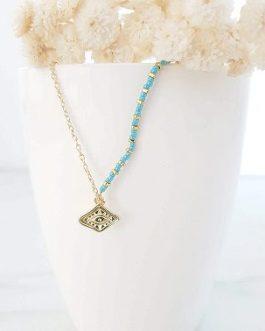 Collier losange perles bleues