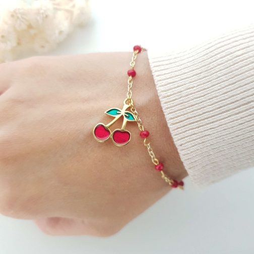 Bracelet perle rouge cerise